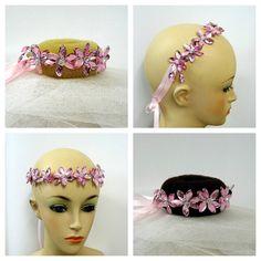 Pink Ballet Bun Wrap, Pink Fascinator, Bun Tiara Bridesmaid Headpiece, Fairy Jewel, Costume Headpiece, Pink Crystal Headpiece, Pink Hairband