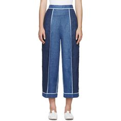 Acne Studios Blue Linen Odette Trousers ($585) ❤ liked on Polyvore featuring pants, denim, wide leg linen pants, blue pants, wide leg pants, acne studios and wide leg trousers