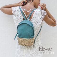 Os presentamos nuestra mini mochila Dasha en piel velvet turquesa. Este bolso combina palma natural trenzada y piel y lo tienes disponible en negro, azul, ocre, orange además de en turquesa. Combinada con vestidos ibicencos queda genial. Mini Mochila, Saddle Bags, Natural, Fashion, Blue Nails, Black, Turquoise, Backpacks, Budget