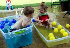 A fun toddler water play idea that is sure to have your little ones splashing, giggling, and learning all at once this summer!except probably not with yellow. Because gross. Toddler Play, Baby Play, Toddler Crafts, Toddler Games, Kid Crafts, Easter Crafts, Water Activities, Infant Activities, Summer Activities