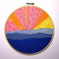 Blue mountains hand #embroidery hoop art.  #hoopart #thebeefychicken #embroideryhoop #starburst
