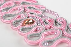 Handmade pink soutache cord wide lacy bracelet with crystals for women gift