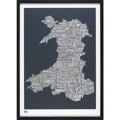 Bold & Noble Screen Print - Wales Type Map