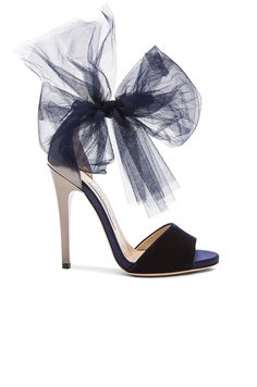 Jimmy Choo Lilyth Satin and Velvet Heels in Anthracite & Navy | FWRD