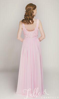 e3c599ef28 Long Blush Chiffon and Lace Bridesmaid Dress TBQP227