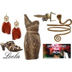 Doctor Who at the prom: Leela by doctorwhodressing on Polyvore featuring Biba, Softspots, Dorothy Perkins, ELSE and Sachin + Babi