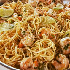 This Cilantro Lime Shrimp Pasta will make you SO excited for summer. Full recipe at Salmon Recipes, Fish Recipes, Seafood Recipes, Mexican Shrimp Recipes, Lime Shrimp Recipes, Easy Pasta Recipes, Healthy Dinner Recipes, Pasta Recipes For Dinner, Linguine Recipes
