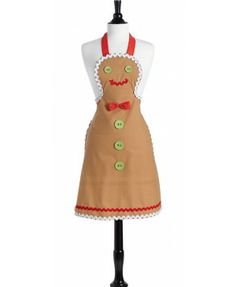 Adult Gingerbread Man Apron by Jessie Steele - perfect for a holiday baking party!