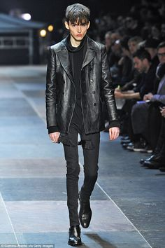 """Gaunt: The extremely thin male model seen on the catwalk during the Yves Saint Laurent show in Paris. Great article about male anorexia-or """"manorexia"""" as it is often called. I'm glad the controversy over the gaunt model stirred debate and conversation about the problem."""