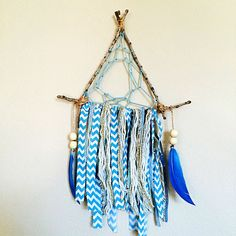 Blue triangle stick dream catcher !