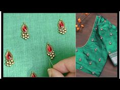 Beautiful Designer Maggam work / Aari , Buti / motif making with Normal needle. Kids Blouse Designs, Simple Blouse Designs, Bridal Blouse Designs, Hand Designs, Saree Blouse Designs, Embroidery Neck Designs, Embroidery Stitches, Embroidery Patterns, Mirror Work Blouse Design
