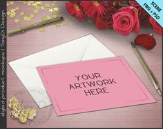 Greeting Card Pen Gerbera Roses on Table by TanyDiArtDesign