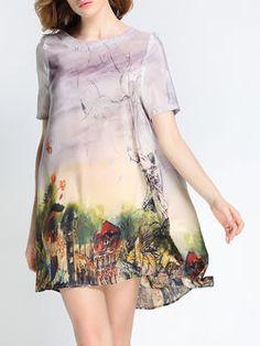 Casual A-line Short Sleeve Satin Mini Dress
