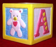 Ceramic-Baby-ABC-Block-with-Teddy-Duck-Planter-Vase-Yellow-Unisex-Baby-Decor