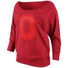 Nike Ohio State Buckeyes Ladies Lazy Day Boatneck Sweatshirt - Scarlet