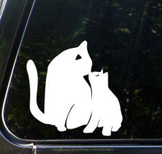 "CAR - Cat Mom and Baby Kitten Kiss - D2 - Car Vinyl Decal Sticker - © YYDC (4""w x 4""h) (WHITE)"