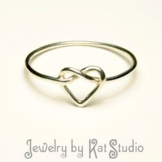 Knot Heart Ring  Infinity Heart  Sterling Silver 925 by Katstudio, $19.00