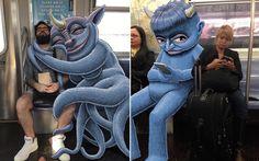 Artista+desenha+criaturas+ao+lado+de+passageiros+do+metrô