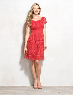 Crochet Lace Fit-and-Flare Dress
