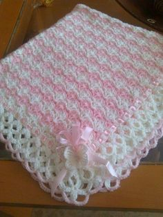 Waffle stitch baby blanket by RuthiesDaughter on EtsyFree pattern off Red Heart called sweet dreams.Bunny Security Crochet Blanket ByNo photo description available. Crochet For Beginners Blanket, Baby Afghan Crochet, Baby Afghans, Crochet Blanket Patterns, Baby Patterns, Baby Girl Blankets, Crochet Blankets, Beginner Crochet, Crochet Shell Stitch