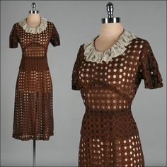 Vintage 1940s Brown Lace Eyelet Sheer Cotton WWII