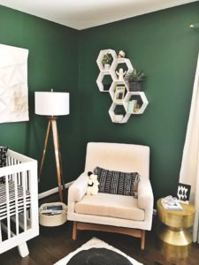 A Green Nursery with Modern Black and White Accents. Wall color Evergreens by Sherwin Williams