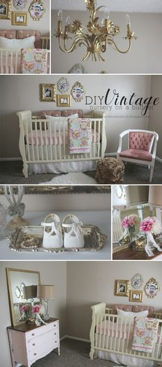 DIY Vintage Nursery {on a budget} pink and gold nursery | gold nursery | nursery…