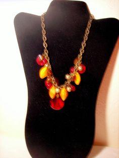 Lane Bryant Bead Charm Necklace No Stone Red Orange #LaneBryant #Charm