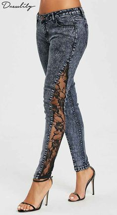 Fashion cool jeans feature sexy see-through floral patterned lace panel on both sides. Button fly and zipper closure. Four pockets are separated from front to back, standard layout. Skinny silhouette to show your slim legs.