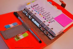 Organized front cover and dashboard of Filofax planner by labelmemerrit.com