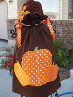 Custom Boutique Baby Toddler Girls Fall Halloween, Thanksgiving Pumpkins by thequiltedlilies,