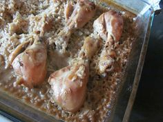 "I totally doctored this recipe added more seasonings and used the cream of something soup mix.  Its a great use of cheap cuts of chicken.  Pinner said, ""Old School Chicken and Rice Bake...we LOVE this. Very easy to put together."""
