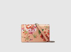 blooms leather chain wallet