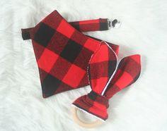 Buffalo Plaid Baby Gift Set | Bandana Bib | Baby Gift Set | Pacifier Clip | Wood Teething Ring | Ready to Ship by MooseandGooseStudio on Etsy https://www.etsy.com/listing/466335823/buffalo-plaid-baby-gift-set-bandana-bib
