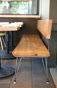 abueg morris architects  Nopalito Restaurant Benches.  All tables and wood benches are from a single fallen oak from the Sierra foothills.