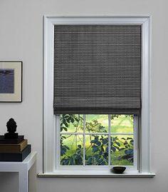 Flat Roman Shade - noir grassweave (kitchen window)
