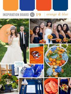 Orange and blue wedding inspiration.