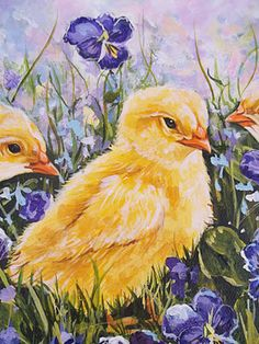 Spring by Jonny J. Watercolor Bird, Watercolor Animals, Watercolor Paintings, Watercolours, Chicken Painting, Chicken Art, Child Draw, Pastel Crayons, Baby Chickens
