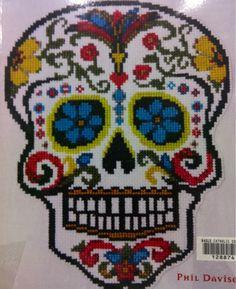 sugar skull cross-stitch  #sugarskull #embroidery #crossstitch