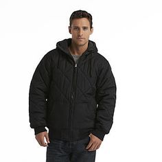 Route 66- -Men's Quilted Hooded Winter Coat