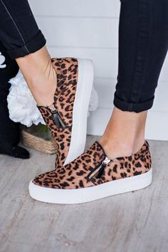 Wild Side Leopard Print Side Sneakers (Leopard) from NanaMacs Boutique. Saved to leopard print. Women's Shoes, Tennis Shoes Outfit, Cute Shoes, Me Too Shoes, Shoe Boots, Leopard Print Outfits, Leopard Print Sneakers, Leopard Prints, Leopard Sneakers Outfit