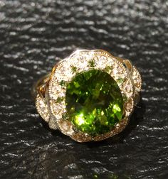 Vintage Peridot Ring 5 Carats with Green and by ElegantArtifacts, $850.00