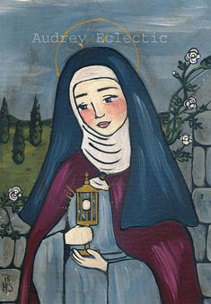 This listing is for a lovely professionally made reproduction of my painting Saint Clare as an 8x10 print. The print has a white border around it
