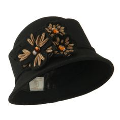 Wool Felt Hat with Flower Trimming - Black