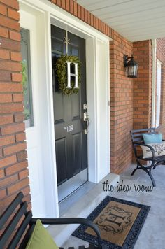 I really like that front door mat - seen a blog where someone bought a plain mat and spray painted the monogram on it... I like this for that idea with the swirlies around it