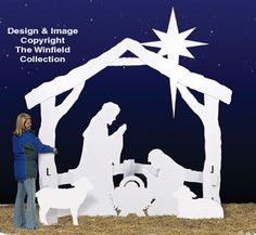 "Large Silent Night Wood Pattern  Now you can display our best-selling white Nativity in your yard in full, eye-catching LIFE-SIZE!  This Winfield exclusive project requires no special woodworking skills to make--just trace our full-size pattern pieces onto 4 sheets of 3/4"" plywood, cut out with a hand-held jigsaw, assemble and paint. Final assembly requires no hardware--tab & slot pieces just slide together in your yard."
