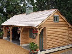 Oak framed 3 bay garage & office by Shires Oak Buildings