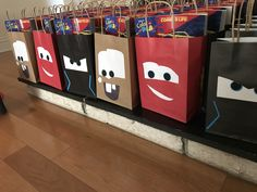 Cars 3 goody bags featuring Jackson storm, no yellow bags for Cruz anywhere! Went with Mater