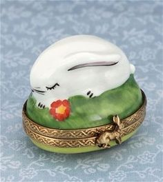 Limoges Little White Rabbit with Flower Box The Cottage Shop