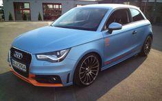 Audi car wrap | matte blue and orange details